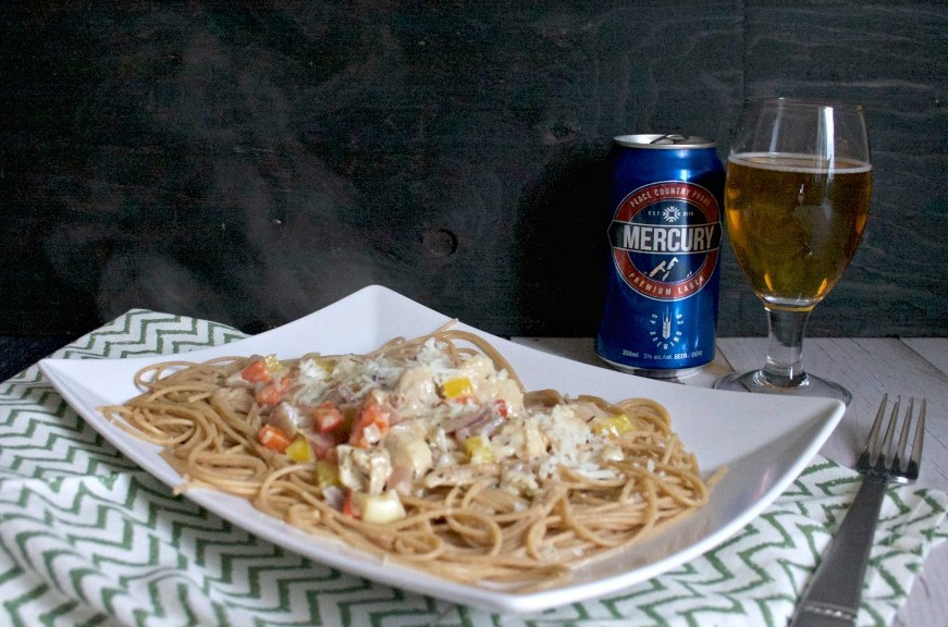 chicken pasta in creamy beer sauce