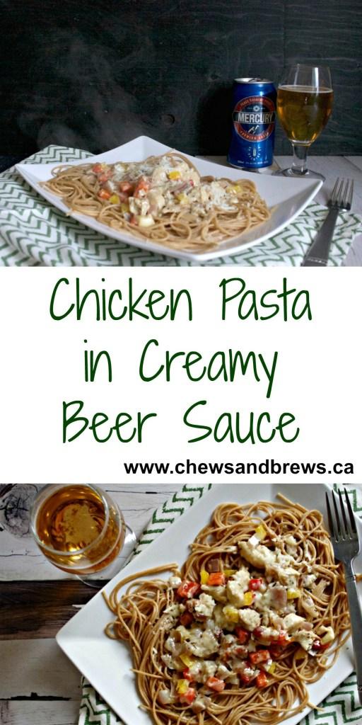 chicken pasta in creamy beer sauce