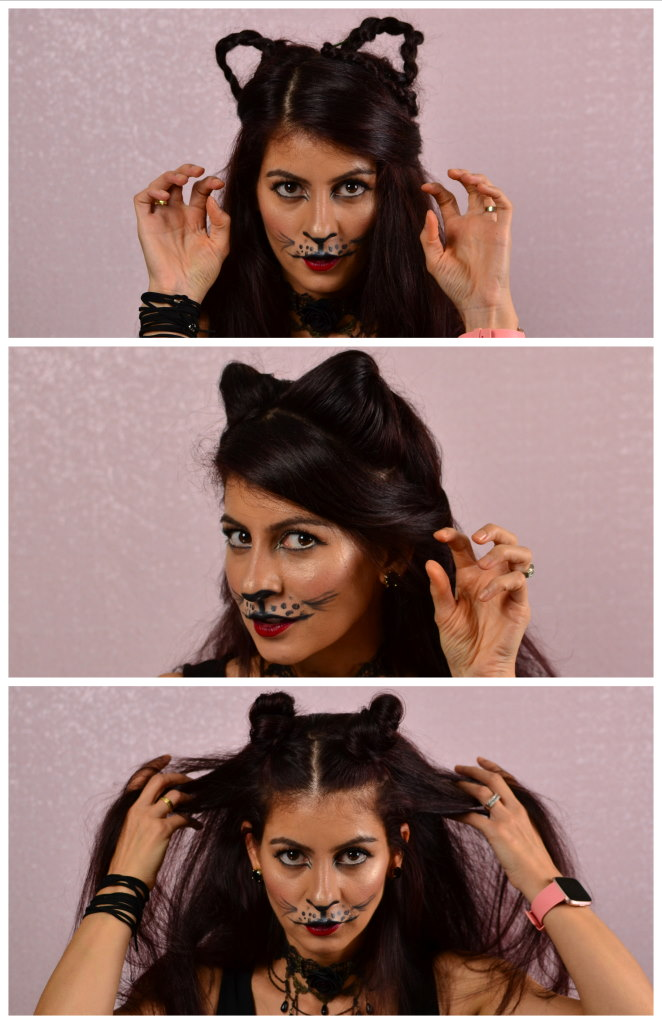 Cat hairstyles for Halloween-How to make cat ears using your own hair
