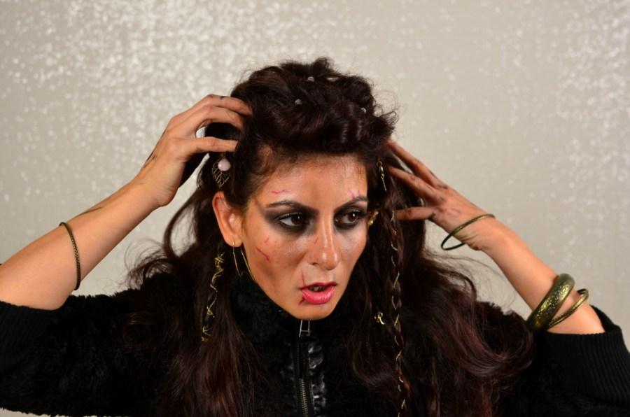 Viking Warrior Halloween Hairstyle-lagertha the shieldmaiden easy hair look