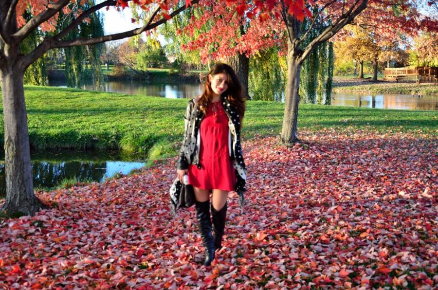 How to wear a shirt dress in fall/winter-Potential Thanksgiving dinner outfit