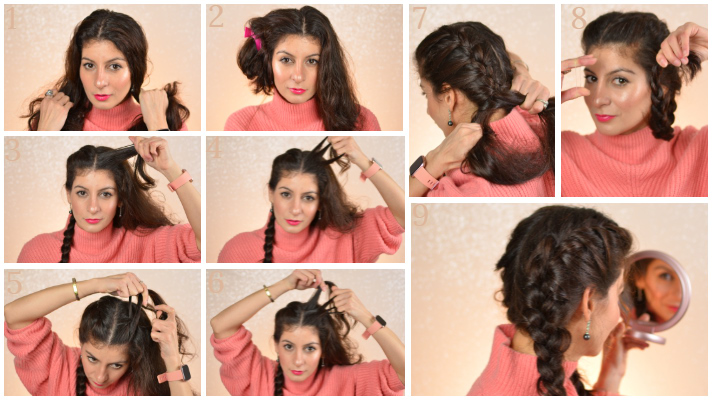 Double french braids to a beach waves hair: From day to a night out .