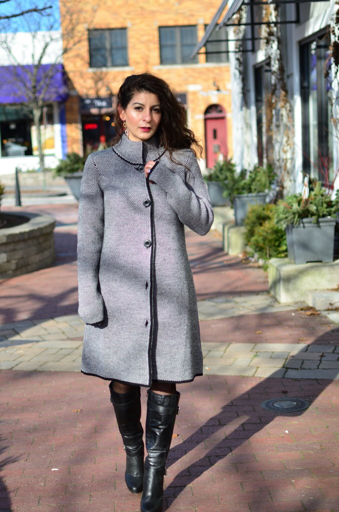 Valentine's day outfit idea - Cocoon coat + faux-leather dress