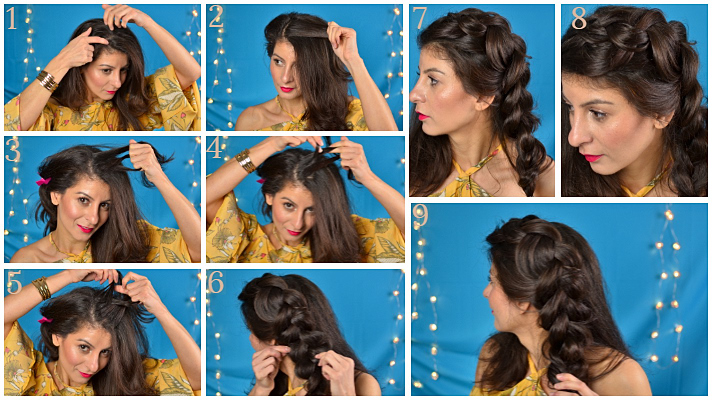 Double Dutch braids hairstyle: Dutch braids to a low messy bun