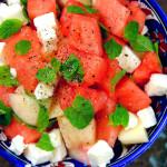 Watermelon, Peach, Spearmint & Feta Cheese Salad