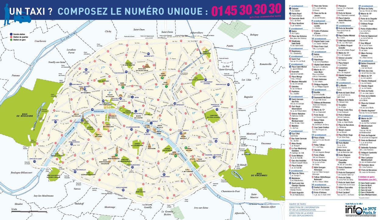 Carte stations de taxi Paris