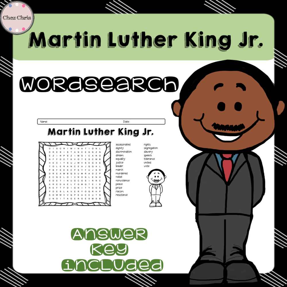 Martin Luther King Wordsearch Chez Chris Resources