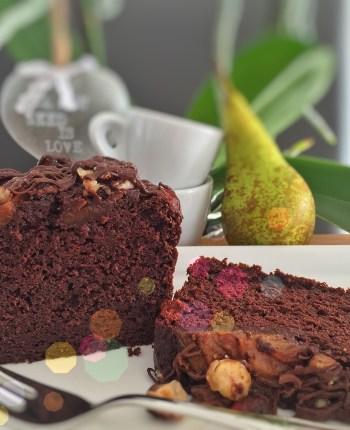 Cake chocolaté poire – noisettes