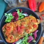 Butternut farci quinoa, tomates, mozzarella