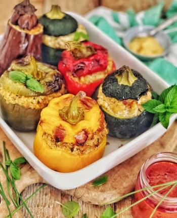 """Légumes farcis """"veggie"""" au boulghour et à la moutarde"""