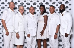 Carl Tutt, Jr-President of 100 BMC, Toni Preckwinkle-Cook County Board Pres., Kurt Summers, Jr.-Treasurer, Kim Foxx candidate for Cook County States Atty, Spencer Leak Jr. –Co-Chair and Robert Carter-Co- Chair Photography by LeVern A. Danley III
