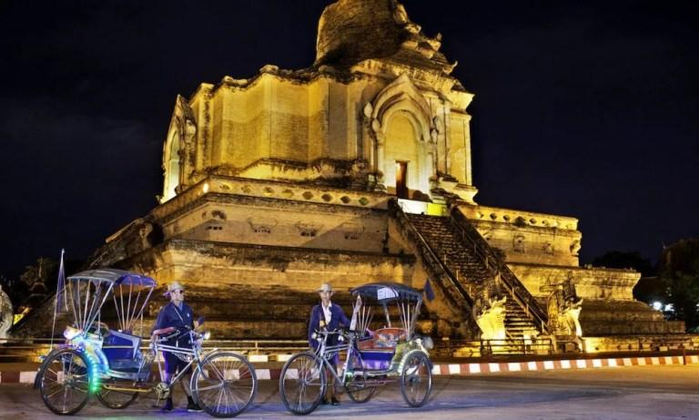 Wat Chedi Luang after dark Chiang Mai Evening Tour by samlor