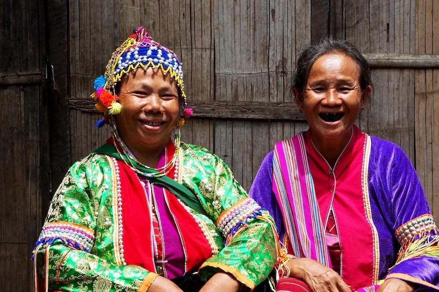two women in tribal dress