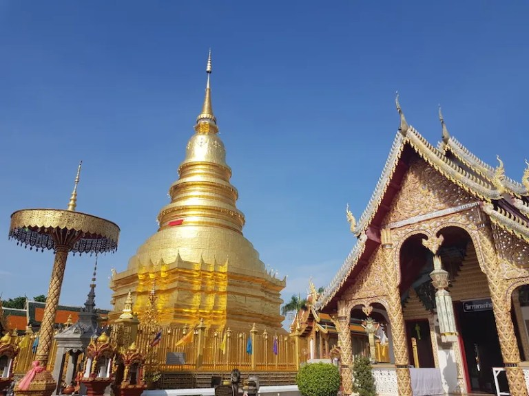 Golden chedi in temple things to do in Lamphun