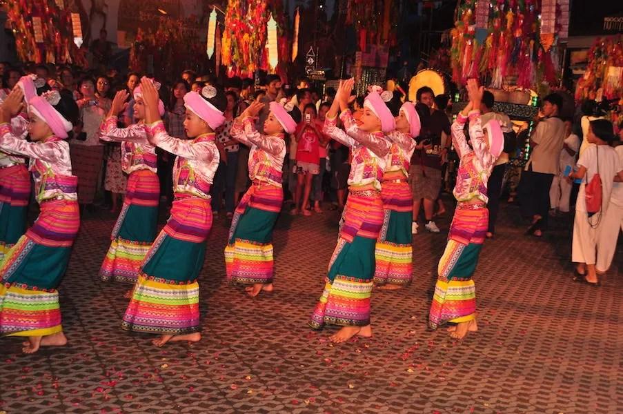 Girls in traditional dress dancing