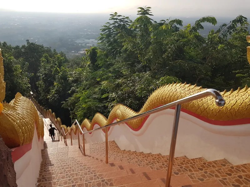 Staircase down with railings active Chiang Mai Temple Tour