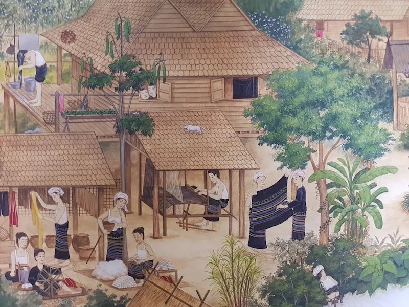 Village women with textiles