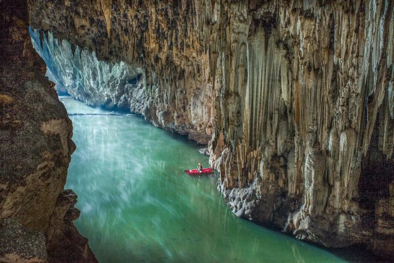 Kayak in a cave
