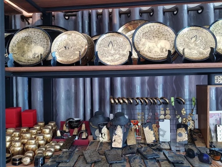 Lacquerware products for sale Wat Nantaram