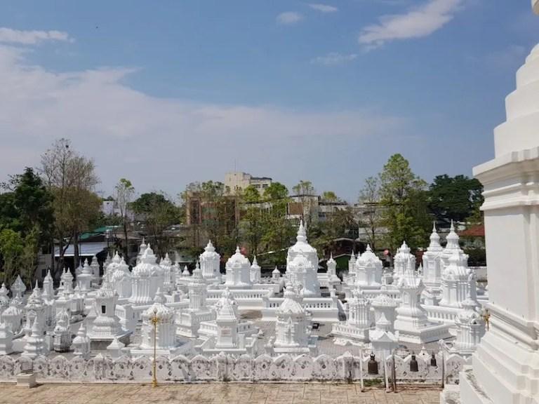 Many white stupas