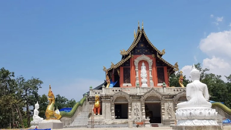Temple with Buddhist statues
