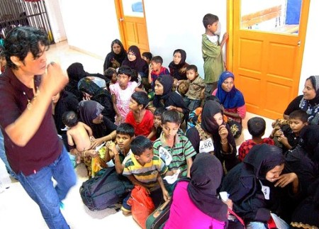 Rohingya refugees from Myanmar on Friday waited for registration at a southern Thailand immigration-detention center.