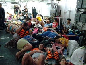 Passengers on boat the Pattani, after being rescued. Photo: Royal Thai Navy
