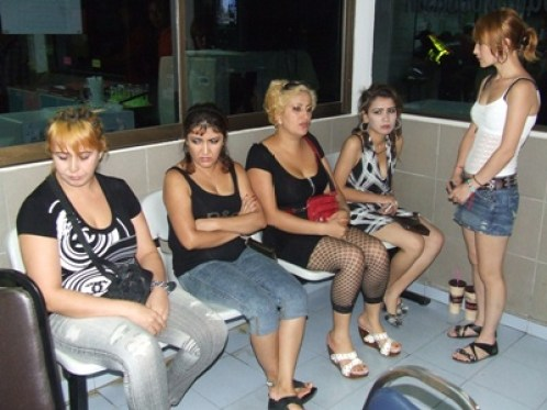 Immigration police have arrested an Uzbek pimp and four of her prostitutes discovered working in South Pattaya