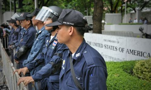 Riot police on standby outside the American Embassy