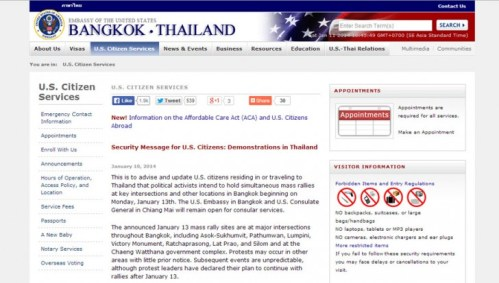 US Embassy website Issues Warning for US Citizens in Thailand
