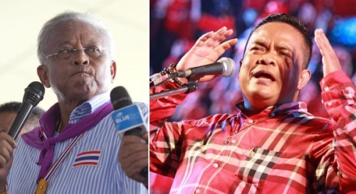 Suthep Thaugsuban, founder of the People's Democratic Reform Committee (PDRC) and Jatuporn Prompan, red shirt leader,