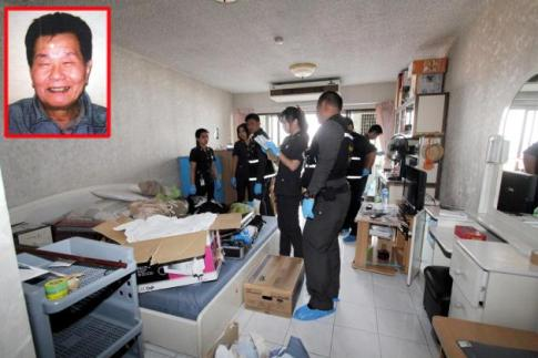 Police examine a Bangkok apartment rented by Yoshinori Tetsuo, inset, who has disappeared. They are trying to determine if the 79-year-old met with foul play at the hands of his Thai wife.