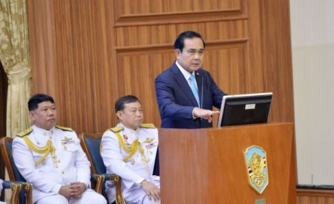 Prime Minister Prayut Chan-o-cha, chief of the National Council for Peace and Order at the National Defense College