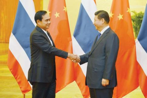 Prime Minister Prayut Chan-o-cha shakes hands with China's President Xi Jinping