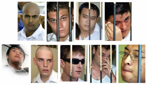 "Australian drug smugglers knows as the ""Bali Nine"": (top from L to R) Myuran Sukumaran, Scott Rush, Tach Duc Thanh Nguyen, Renae Lawrence, and (bottom row L to R) Si Yi Chen, Matthew Norman, Michael Czugaj, Martin Stephen and Andrew Chan"