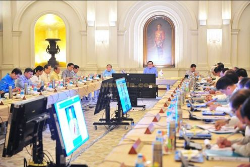 Military junta chief and Prime Minister General Prayuth Chan-ocha holds his first cabinet meeting at Government House in Bangkok
