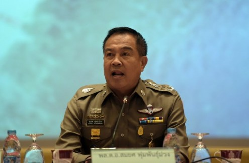 Thai national police chief Somyot Poompanmoung speaks during a press conference at the police headquarters in Bangkok