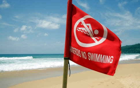 Police Lieutenant Colonel Apichart said there there 'no swimming' signs and red flags in place to warn tourists about the dangers of swimming there