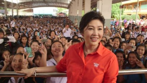 Yingluck Shinawatra Swarmed By Facebook Fans as She Tours Northern Thailand