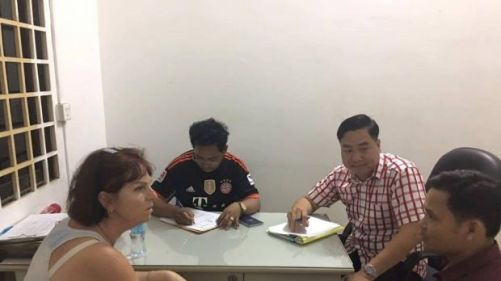 Tammy Davis-Charles being questioned by Cambodian Authorites