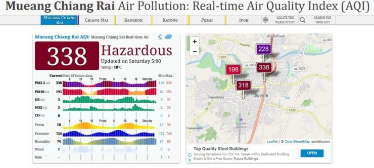 Haze from Forest Fires and Field Burning Takes Chiang Rai's Air Quality to Toxic Levels