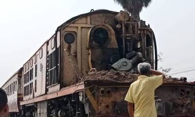 Train Collides with Freight Truck Tearing-off Front of Locomotive