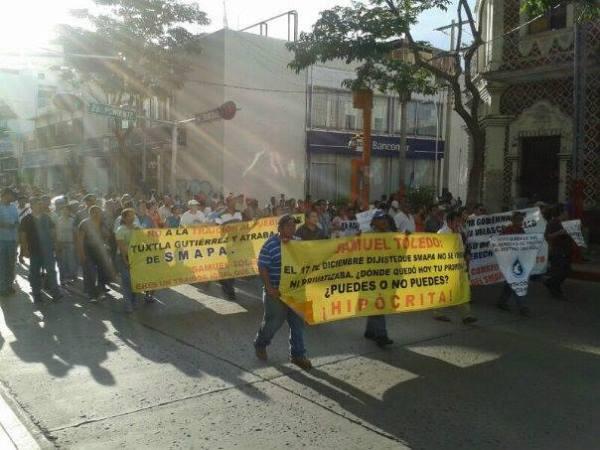 En Tuxtla se han realizado diferentes marchas en contra de la privatización del Smapa. Foto: Isaín Mandujano/ Chiapas PARALELO.