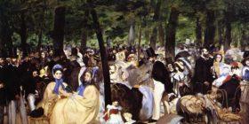 Música en el jardín Tuileries. Pintura de Eduardo Manet.