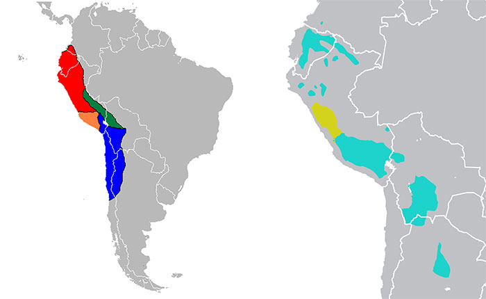 "The extension of the Inca Empire and its four ""regions"" and the distribution of the two major Quechua subfamilies (modified from Wikipedia.org)"