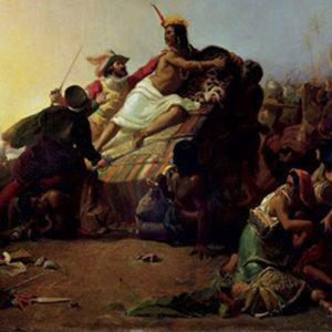 John Everett Millais - Pizarro seizing the Inca of Peru (1845).