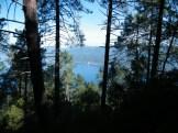 En descendant, à travers les pins, on aperçoit la mer
