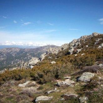 On aperçoit les montagnes enneigées du le massif du Rotondu