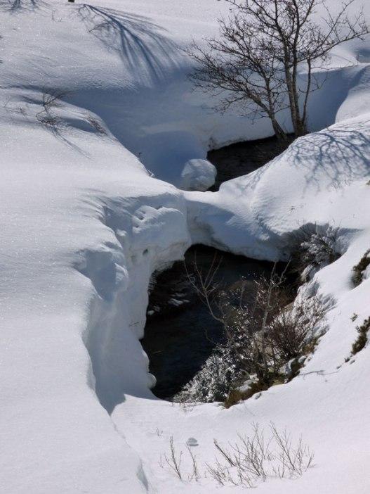 Le ruisseau s'écoule sous le manteau neigeu