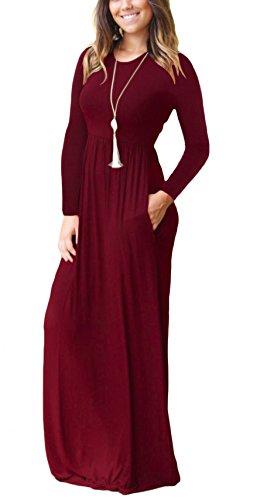 DEARCASE Women Long Sleeve Loose Plain Maxi Dresses Casual Long Dresses 2